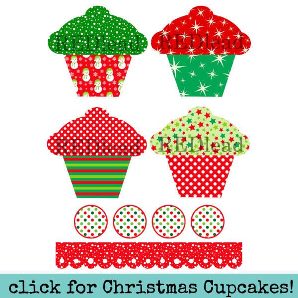 Cupcakes 7 Collage Sheet - Christmas Cupcakes