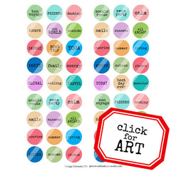 Vintage Elements 208 Word Circles Collage Sheet