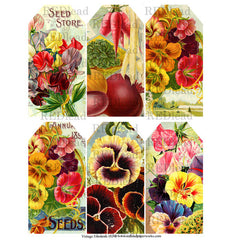 6 beautiful flower tags are on this collage sheet