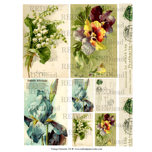 Collage Sheet - Vintage Elements 142 - Spring Flowers