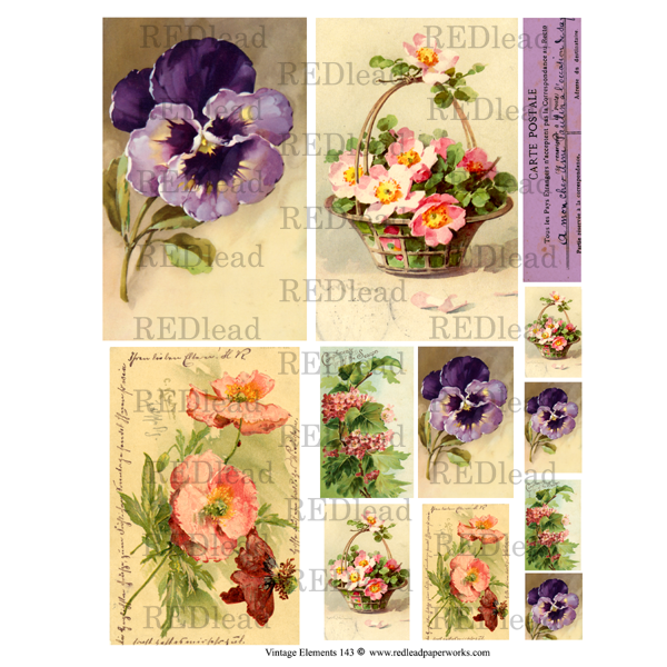 Vintage Elements 143 Collage Sheet Spring Flowers