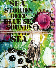 "Art Stencil Sea Stories Deep Blue Sea Sounds of the Sea 6"" x 6"""