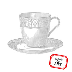 A Cozy Tea Cup Rubber Stamp