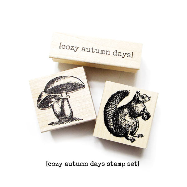 Cozy Autumn Days Wood Mount Stamp Set