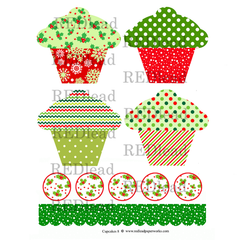 Cupcake Collage Sheet 8 - Christmas Cupcakes