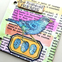 bird rubber stamped chipboard junk book page