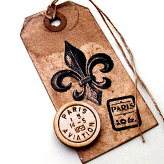 rubber stamped vintage tag