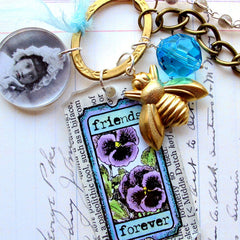 Tickets Rubber Stamp - Friends Forever - Honeybee - Pansies