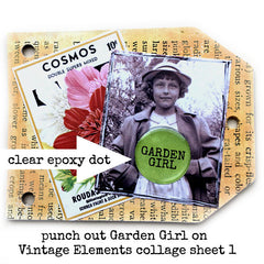 garden rubber stamped chipboard junk book page