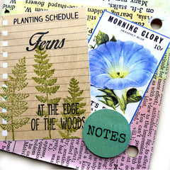 ferns and morning glories rubber stamped chipboard junk book page