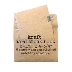 "Kraft Card Stock Stitched Book 3-1/2"" x 4-3/4"""
