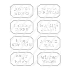 Joyous Wishes Large Label Christmas Rubber Stamp