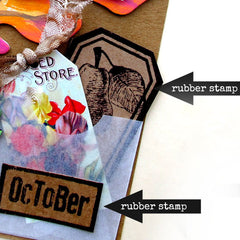 rubber stamped tag art