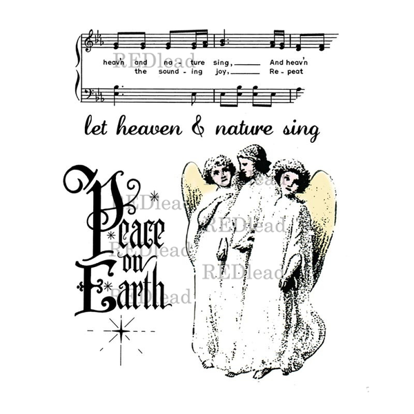 Christmas Rubber Stamp - Let Heaven and Nature Sing - Peace on Earth - 4 cling mount rubber stamps