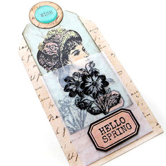 Hello Spring Victorian Lady pocket tag