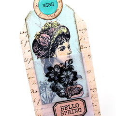 close up of Victorian Lady pocket tag