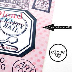close up of mail art stenciling