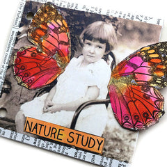 butterfly rubber stamped chipboard junk book page
