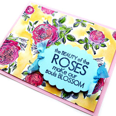rubber stamped roses greeting cards