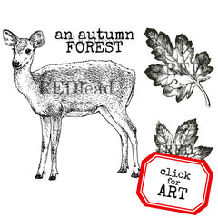An Autumn Forest Deer and Leaves rubber stamp