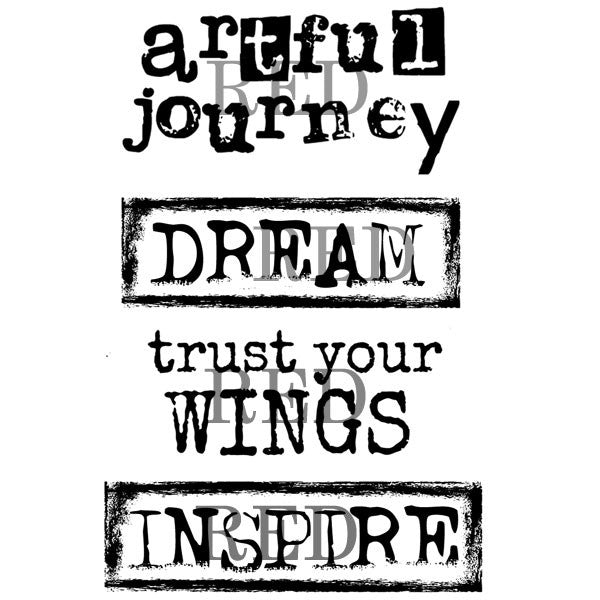 Artful Journey Dream Trust Your Wings Rubber Stamp