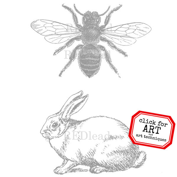 Honey Bee and Bunny Rubber Stamp