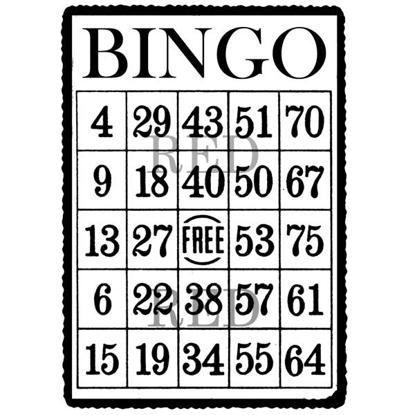 Bingo Card Rubber Stamp