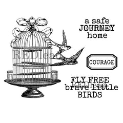 birds and bird cage rubber stamps