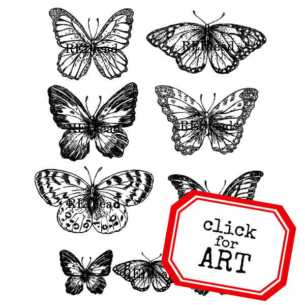 Garden Butterfly Flock Rubber Stamp