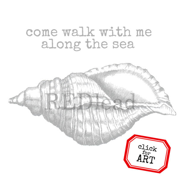 Come Walk With Me Along The Sea Rubber Stamp