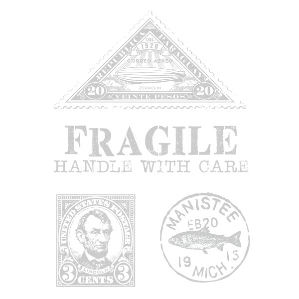 Fragile Handle With Care Postage Rubber Stamp