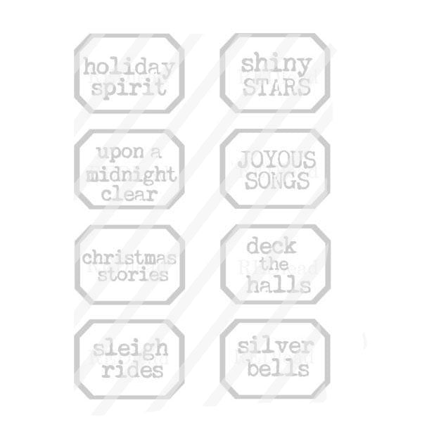 Holiday Spirit Little Labels Christmas Rubber Stamp