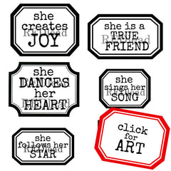 She Creates Joy Label Rubber Stamp
