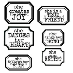 cling mount label rubber stamps