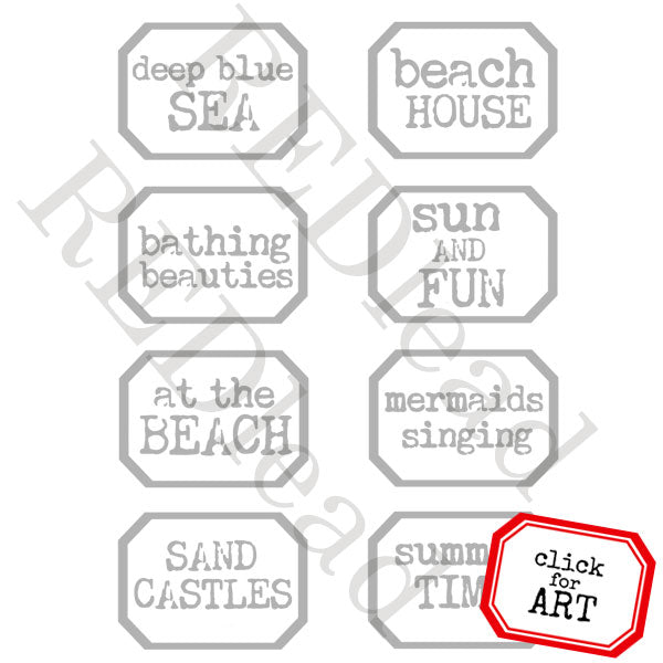 Deep Blue Sea Little Labels Rubber Stamp