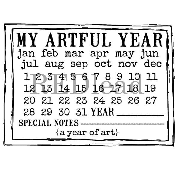 My Artful Year Calendar Rubber Stamp