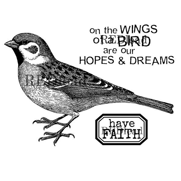 On the Wings of A Bird Rubber Stamp