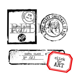 santa claus postage rubber stamps