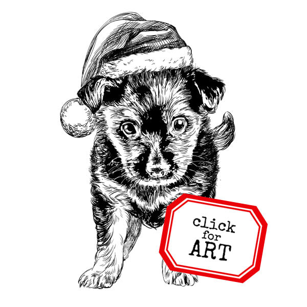 Santa Puppy Christmas Rubber Stamp