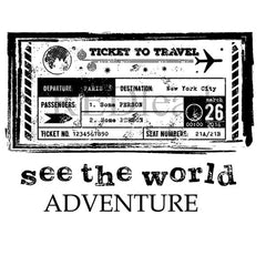 travel ticket cling mount rubber stamp