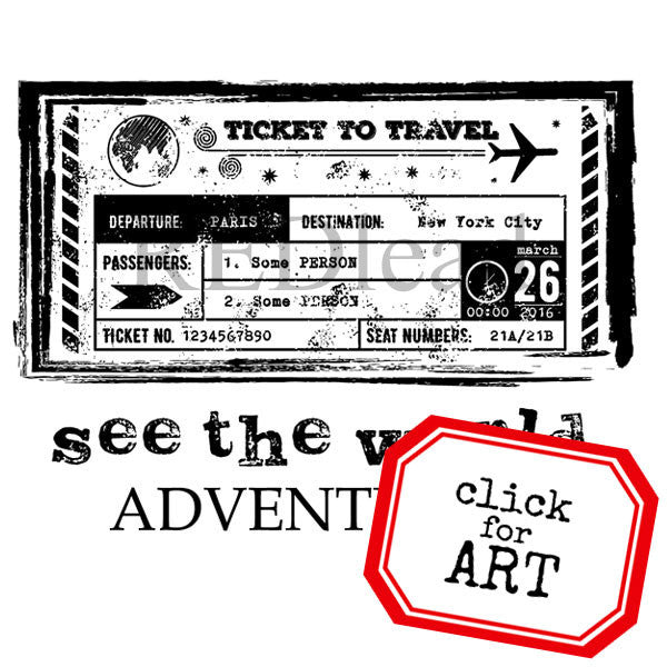 See The World Ticket to Travel Rubber Stamp
