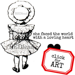 vintage little girl rubber stamp