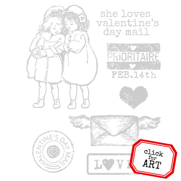 She Loves Valentine's Day Mail Rubber Stamp