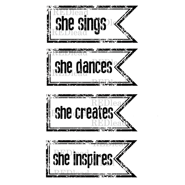 Rubber Stamps - She Sings - She Dances - She Creates - She Inspires - 4 cling mount rubber stamps