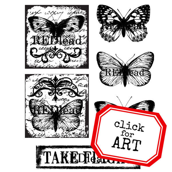 butterfly cling mount red rubber stamps