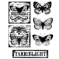 cling mount butterfly rubber stamps