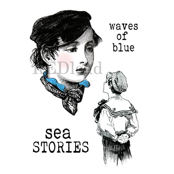 Rubber Stamps - Waves of Blue - Sea Stories - 4 cling mount rubber stamps
