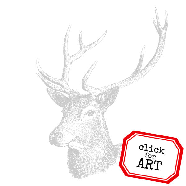Woodland Deer Head Rubber Stamp