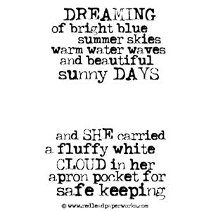 Rubber Stamp - Dreaming of Bright Blue Skies - She Carried a Fluffy White Cloud in Her Apron Pocket