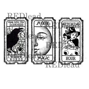 Halloween Rubber Stamp Tickets - Moon Magic - Witching Hour - Deep in the Darkness